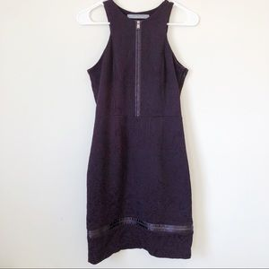 Andrew Marc Purple Embroidered Dress with Zippers